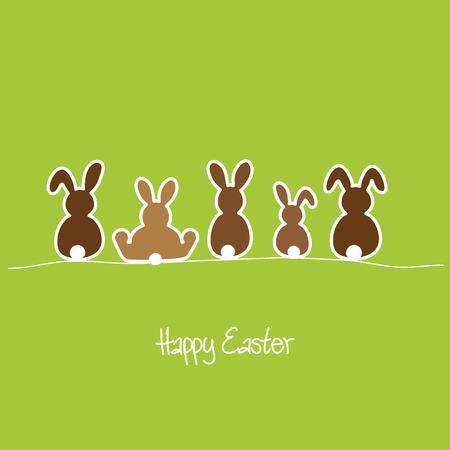 lapin silhouette: Joyeuses Pâques avec cinq lapins dans une rangée Illustration