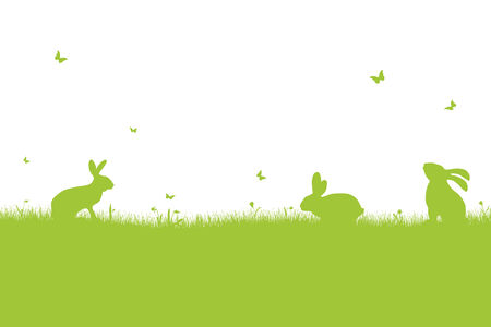 green happy easter background with bunnies