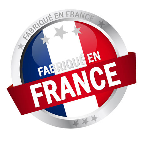 en: round button with banner, french flag and text fabrique en france Illustration