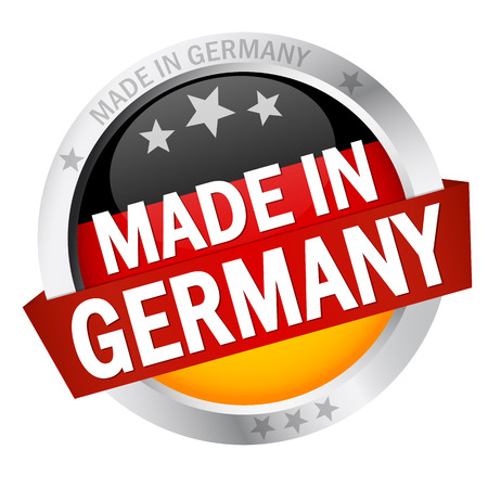 round button with banner, germany flag and text made in germany 矢量图像