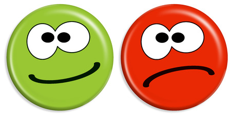 red and green buttons with smileys having positive and negative face