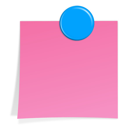 pink note paper with shadow and blue magnet Vector