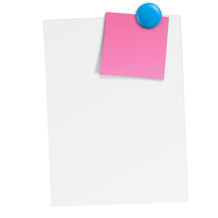 white paper with little sticky note and blue magnet Vector