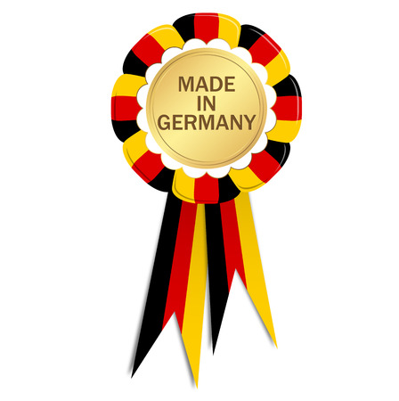 distinguish: seal with ribbons colored with german flag and text made in germany Illustration