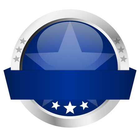 chrome button: template of blue round button with silver frame and banner