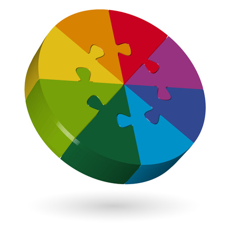 three colored: isolated three dimensional puzzle round with eight colored pieces Illustration