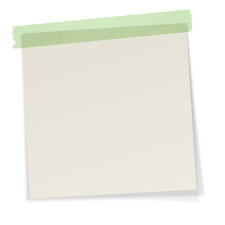 gray little note with shadow and green adhesive tape Vector