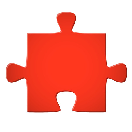 puzzle piece colored red for connection symbolism Vector