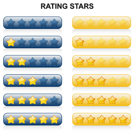 rated: rating from zero to five stars in colors blue and yellow