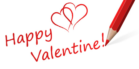 marriageable: red pencil with text Happy Valentine! and two hearts Illustration