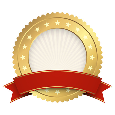 Button template gold with red banner vector