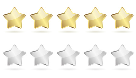 five stars: five stars with shadow golden and silver vector Illustration