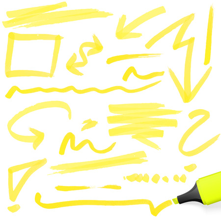 yellow colored highlighter with different hand drawn markings Vettoriali