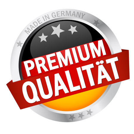 approval button: round button with banner, germany flag and text premium qualit