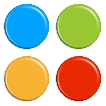 set of four different colored magnets for refrigerator Vector