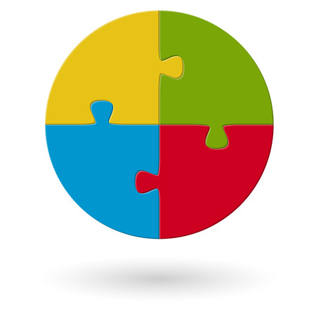 manage: round business puzzle design in four colors for teamwork symbolism