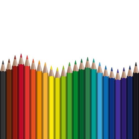 crayons de couleur dans une rangée avec la vague sans fin