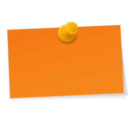 postit note: little orange paper with yellow pin needle