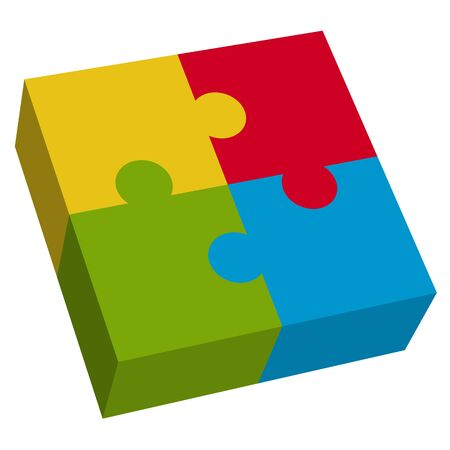 symbolism: business puzzle design in four colors for teamwork symbolism
