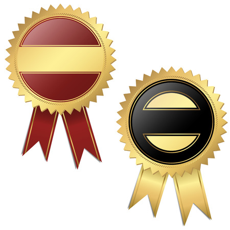 better performance: template of two different golden buttons with banners Illustration