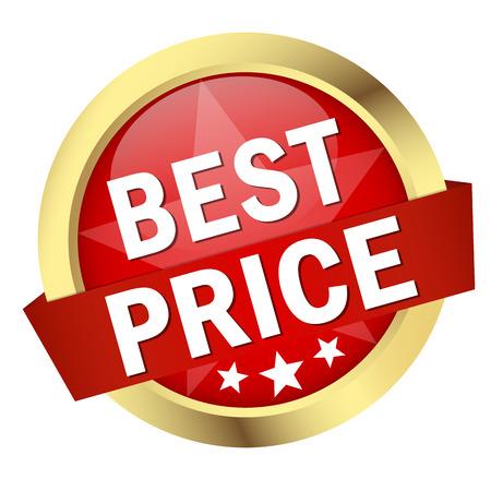 Ronde knop met banner en tekst beste prijs Stockfoto - 35741834