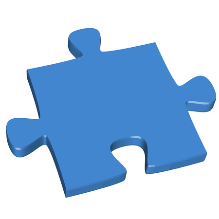 puzzling: three dimensional puzzle piece colored blue for connection symbolism