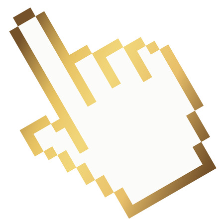 forwarding: golden Pixel graphic hand with fore finger