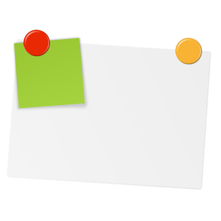post it note: white paper with little colored paper and magnetic pins Illustration