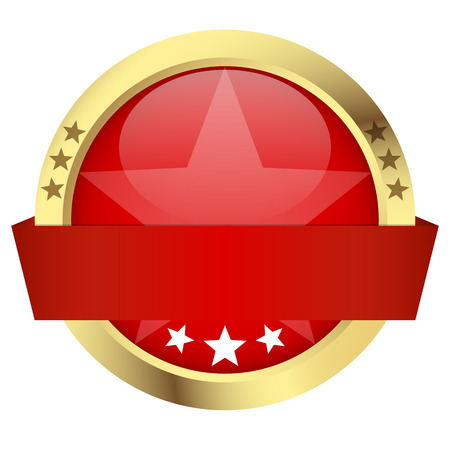 template of red round button with banner and golden frame