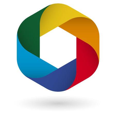 business design in zes kleuren voor teamwork symboliek