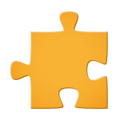puzzle piece colored yellow for connection symbolism Ilustração