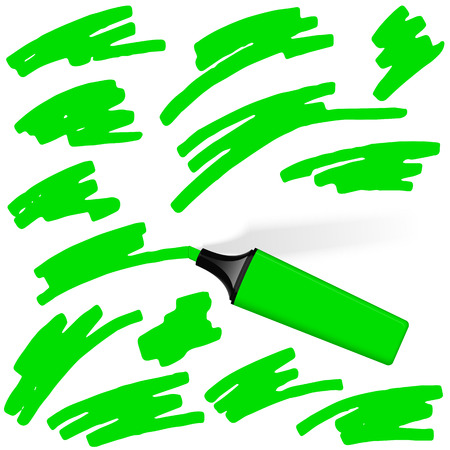 characterize: green colored highlighter pen with different markings business