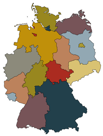 east berlin: map of germany with all provinces in different colors
