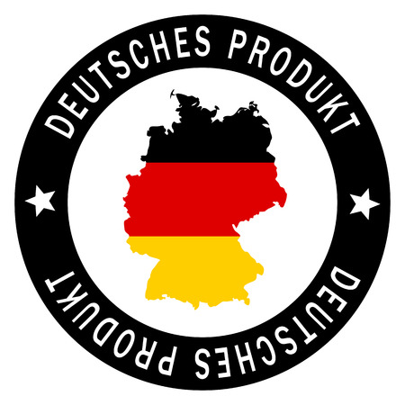 customercare: round patch with german country map and text Deutsches Produkt