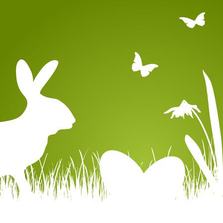 Fondo de Pascua con la silueta verde de conejo, huevos y flores