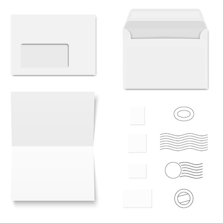 postage stamps: collection of white envelopes, writing paper and postage stamps