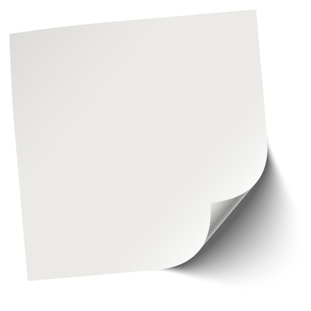 broadsheet: gray blank sticky note with edge turned over