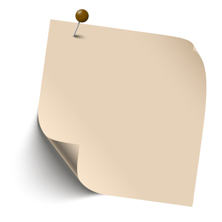 brown blank sticky note with edge turned over and pin needle