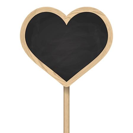 wooden post: Coraz�n pizarra con marco coloca en el poste de madera