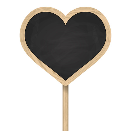 wooden post: Heart blackboard with frame standing on wooden post Illustration