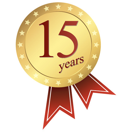 15 years: gold jubilee button 15 years
