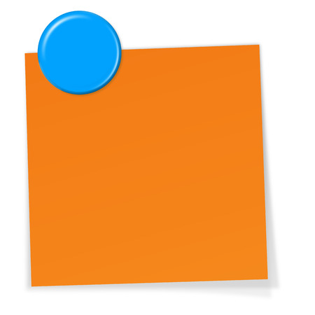 post it note: little orange memo with blue magnetic pin