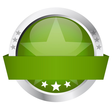 cachet: Template of green round Button with Banner and silver frame Illustration