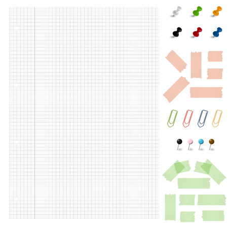 writing lines: Set of blank paper with different office accessories Illustration