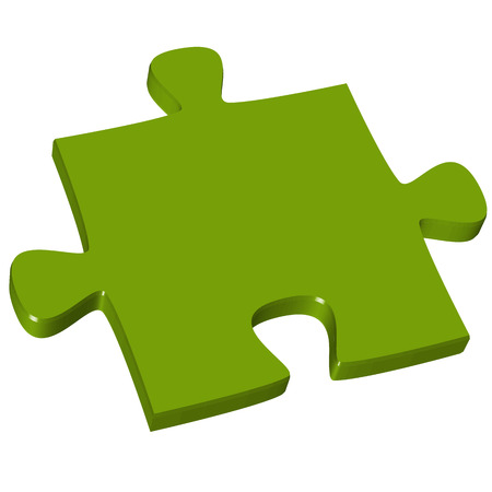 symbolization: green three dimensional puzzle piece for business teamwork symbolization