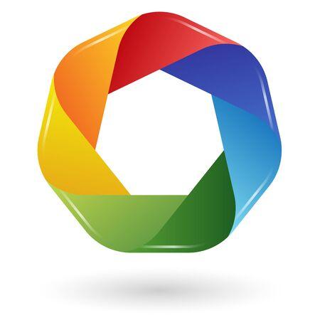 business teamwork design or analysis scheme in seven colors Vector