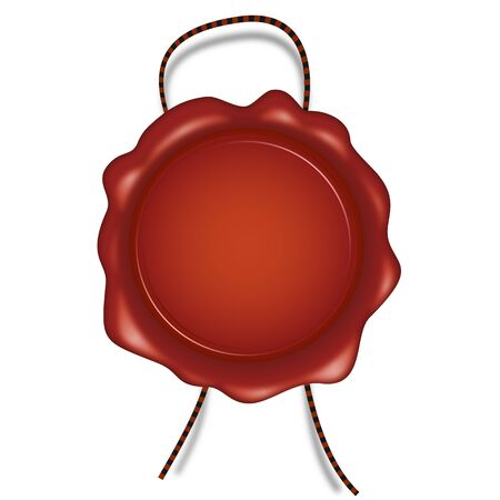 red round wax seal with brown cord for award symbolization Vector