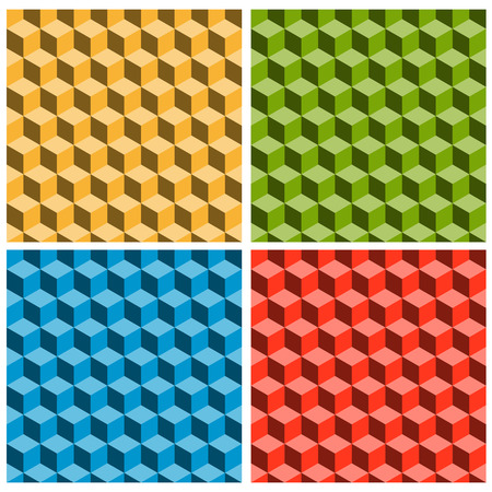 unrealistic: seamles cubes background in four colors showing an optical illusion