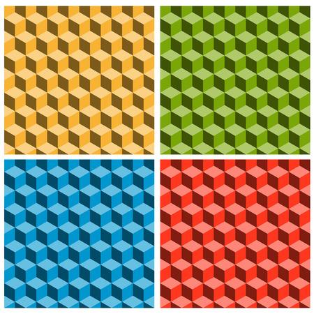 bluff: seamles sfondo di cubi in quattro colori che mostra un'illusione ottica