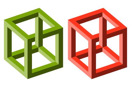 dos cubos de colores diferentes que muestran una ilusión óptica Ilustración de vector